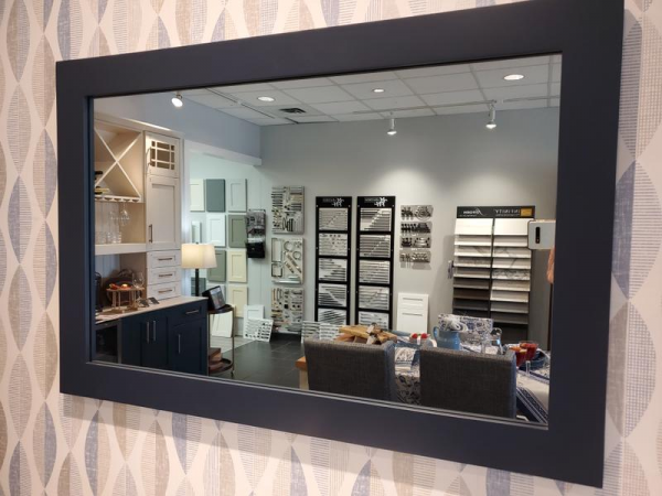reflection in mirror of Styleline Interiors, Salmon Arm BC